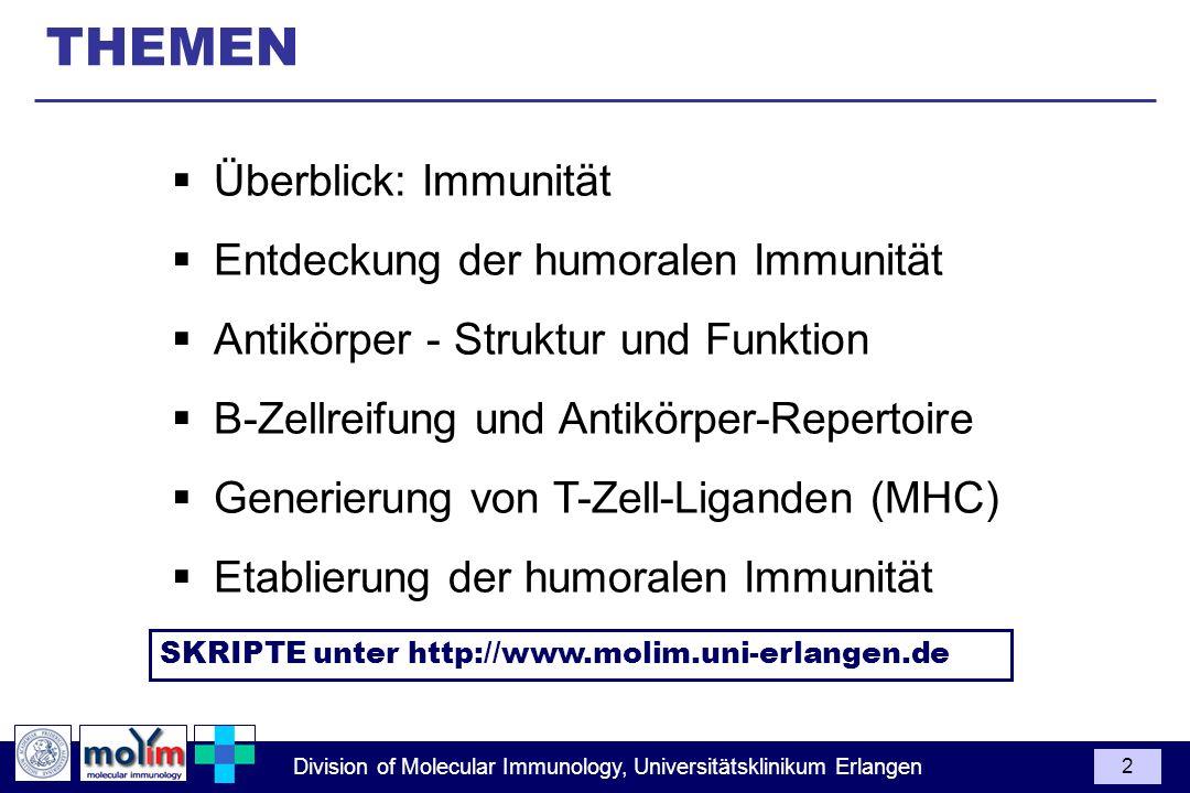 THEMEN Überblick: Immunität Entdeckung der humoralen Immunität