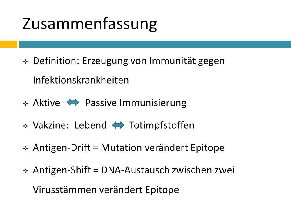 ZusammenfassungDefinition: Erzeugung von Immunität gegen Infektionskrankheiten. Aktive Passive Immunisierung.