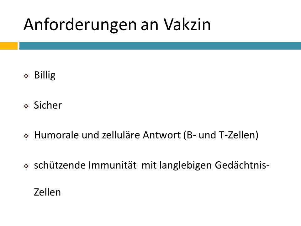 Anforderungen an Vakzin