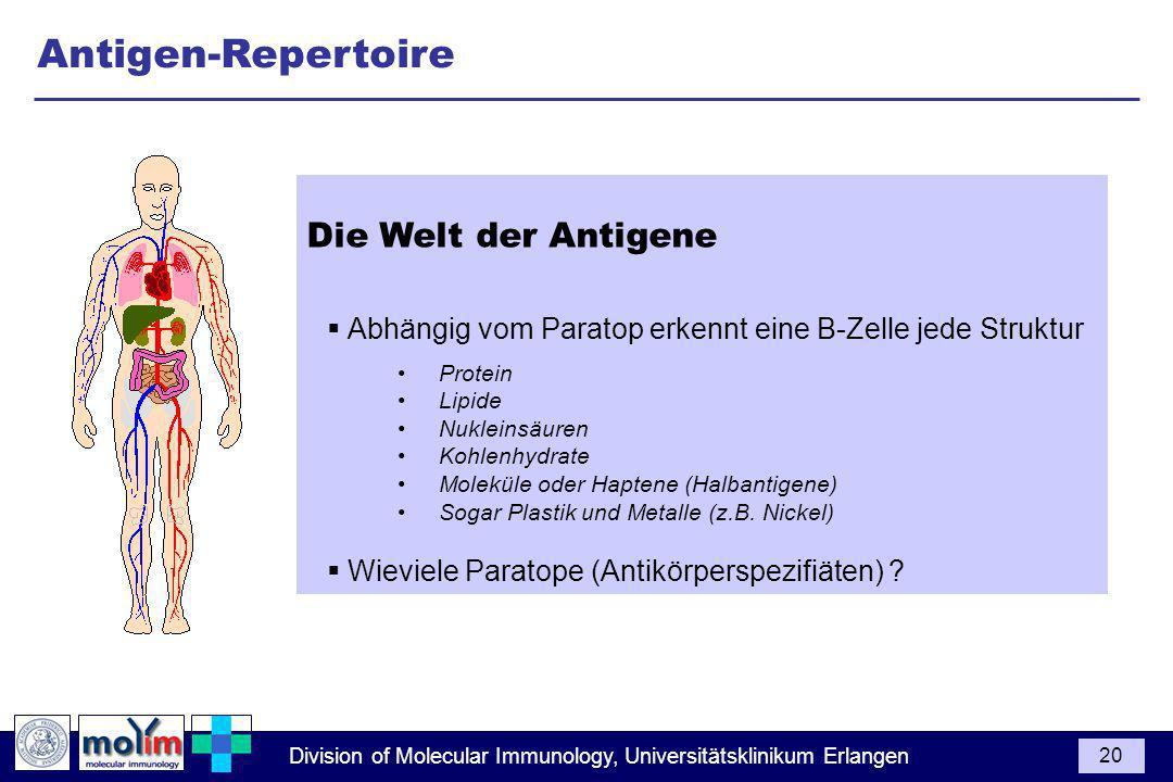 Antigen-Repertoire Die Welt der Antigene