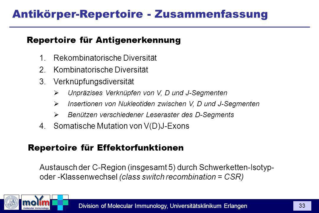 Antikörper-Repertoire - Zusammenfassung