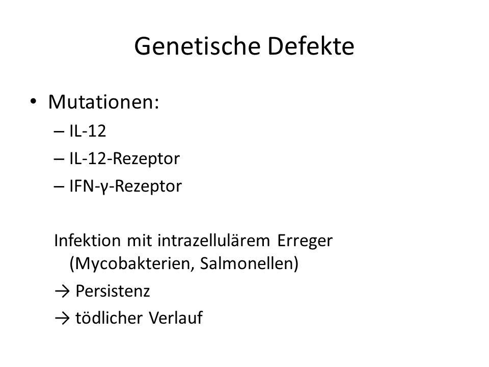 Genetische Defekte Mutationen: IL-12 IL-12-Rezeptor IFN-γ-Rezeptor
