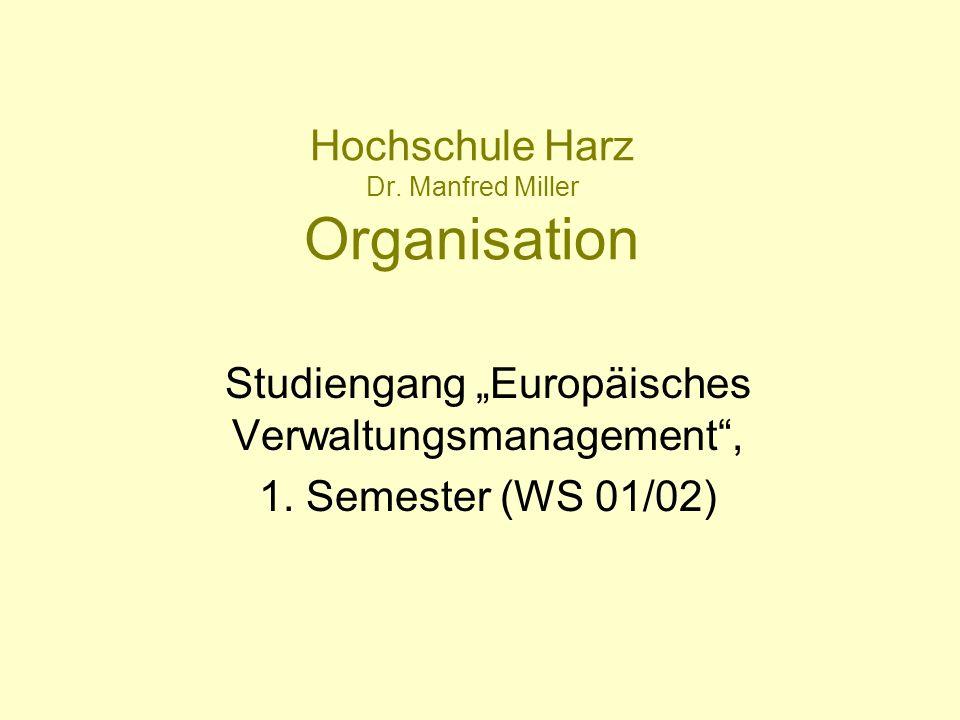 Hochschule Harz Dr. Manfred Miller Organisation