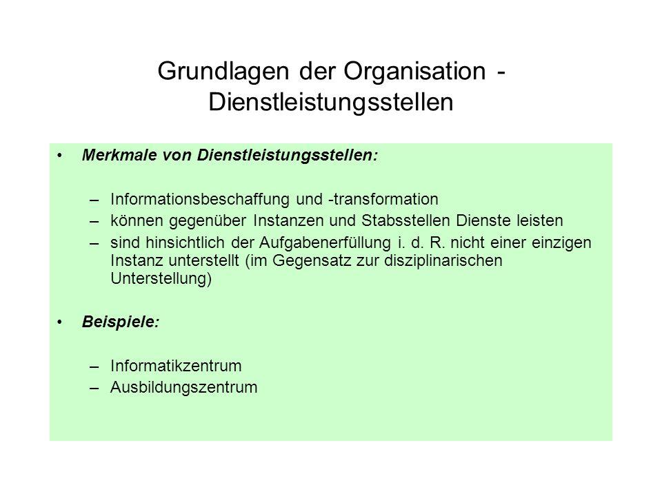 Grundlagen der Organisation - Dienstleistungsstellen