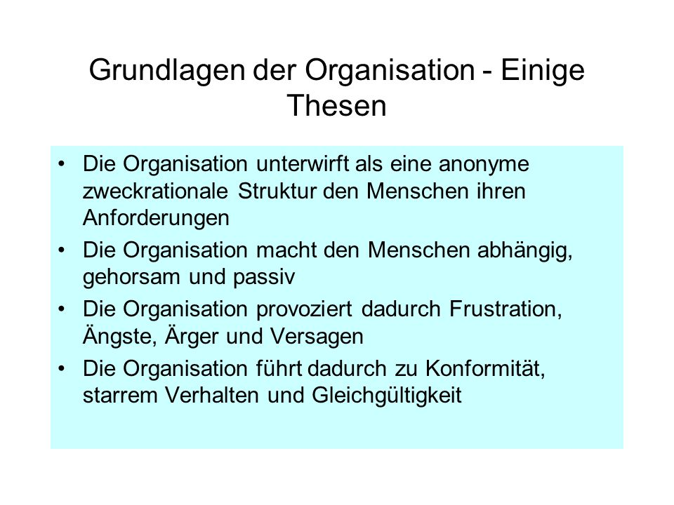 Grundlagen der Organisation - Einige Thesen