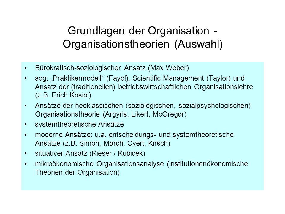 Grundlagen der Organisation - Organisationstheorien (Auswahl)