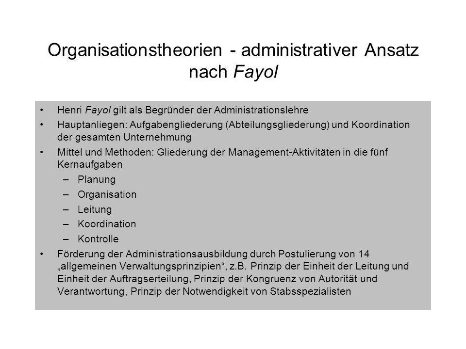 Organisationstheorien - administrativer Ansatz nach Fayol