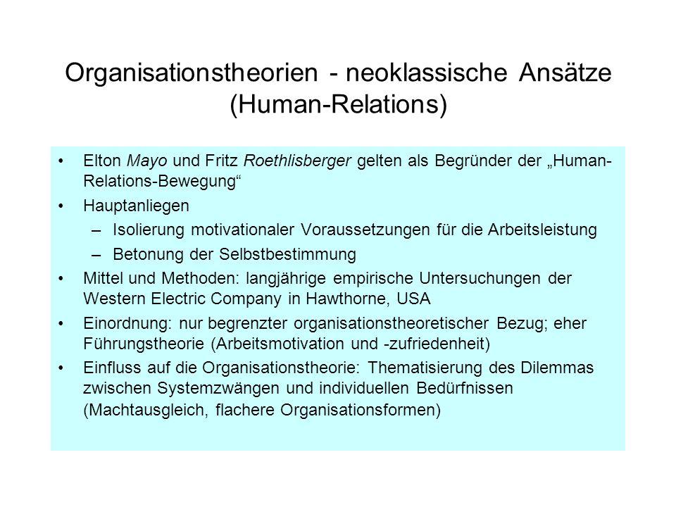 Organisationstheorien - neoklassische Ansätze (Human-Relations)