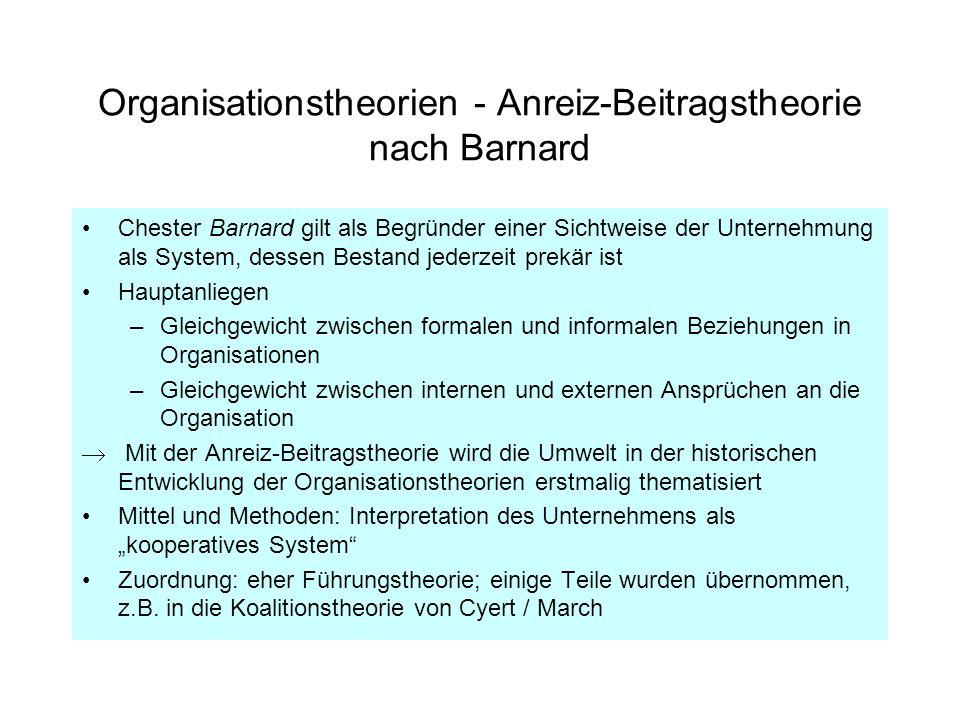 Organisationstheorien - Anreiz-Beitragstheorie nach Barnard