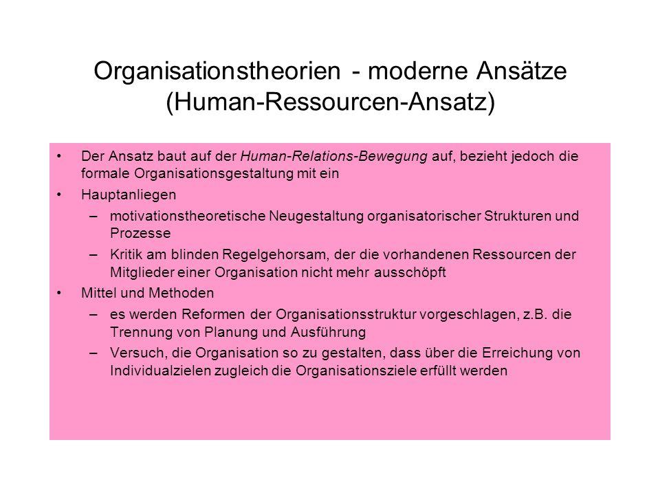 Organisationstheorien - moderne Ansätze (Human-Ressourcen-Ansatz)