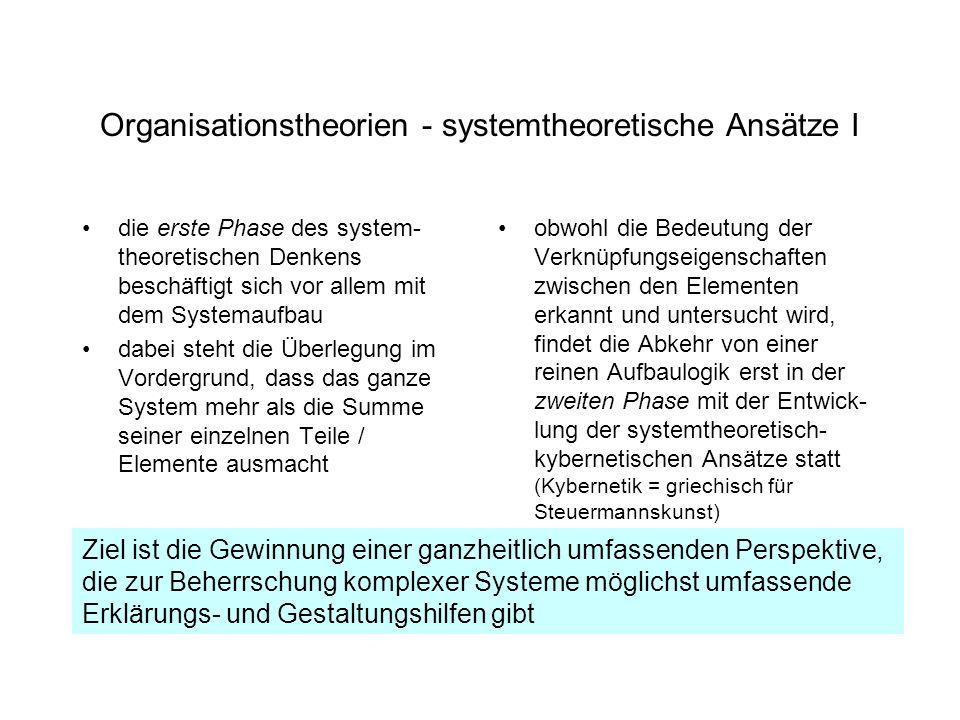 Organisationstheorien - systemtheoretische Ansätze I