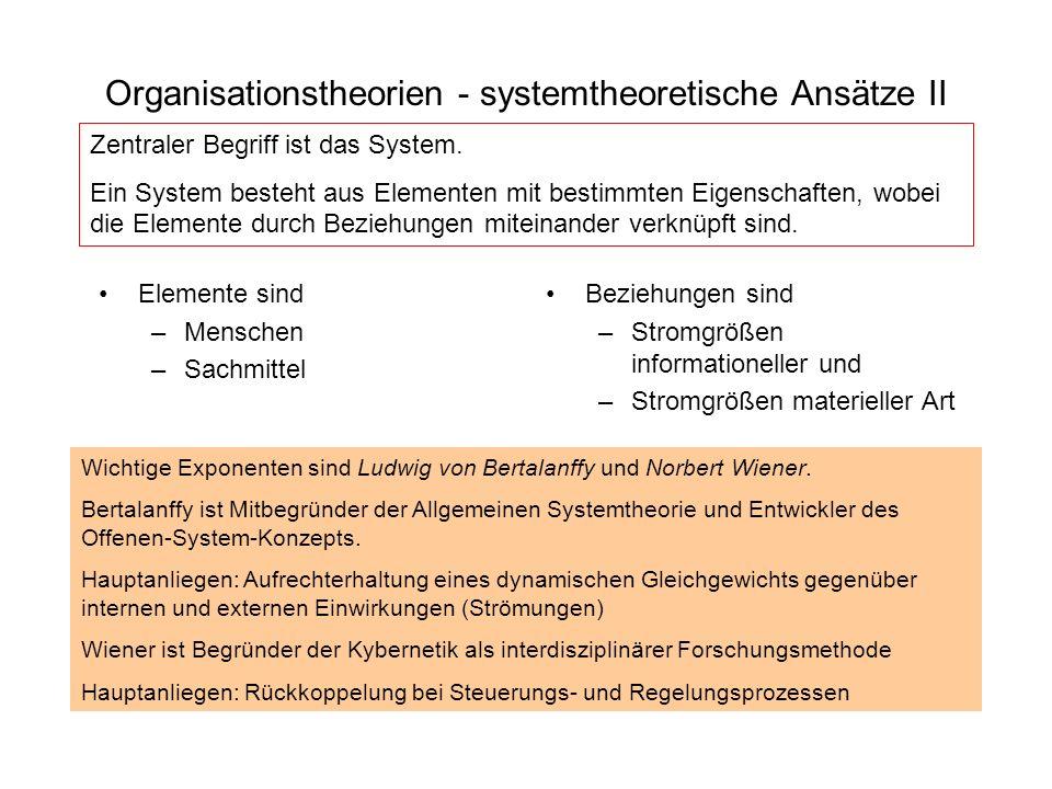 Organisationstheorien - systemtheoretische Ansätze II