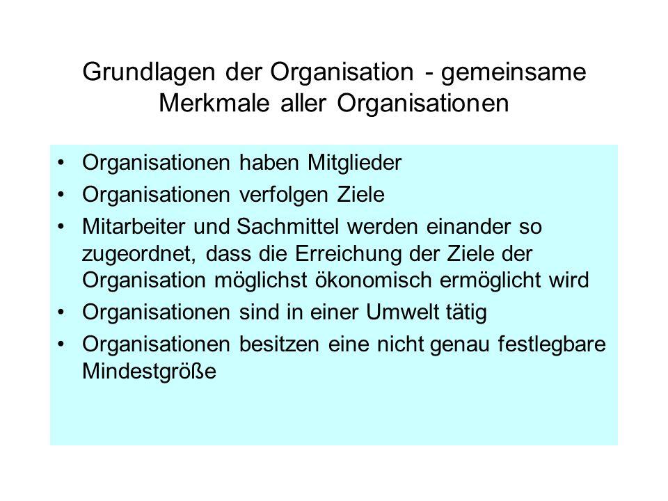 Grundlagen der Organisation - gemeinsame Merkmale aller Organisationen