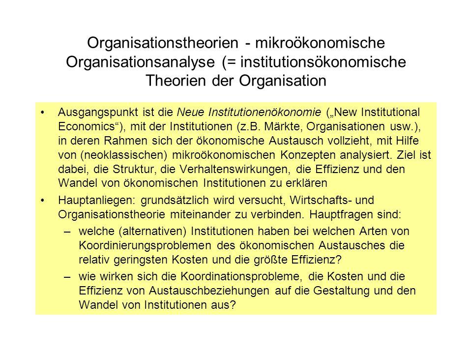 Organisationstheorien - mikroökonomische Organisationsanalyse (= institutionsökonomische Theorien der Organisation