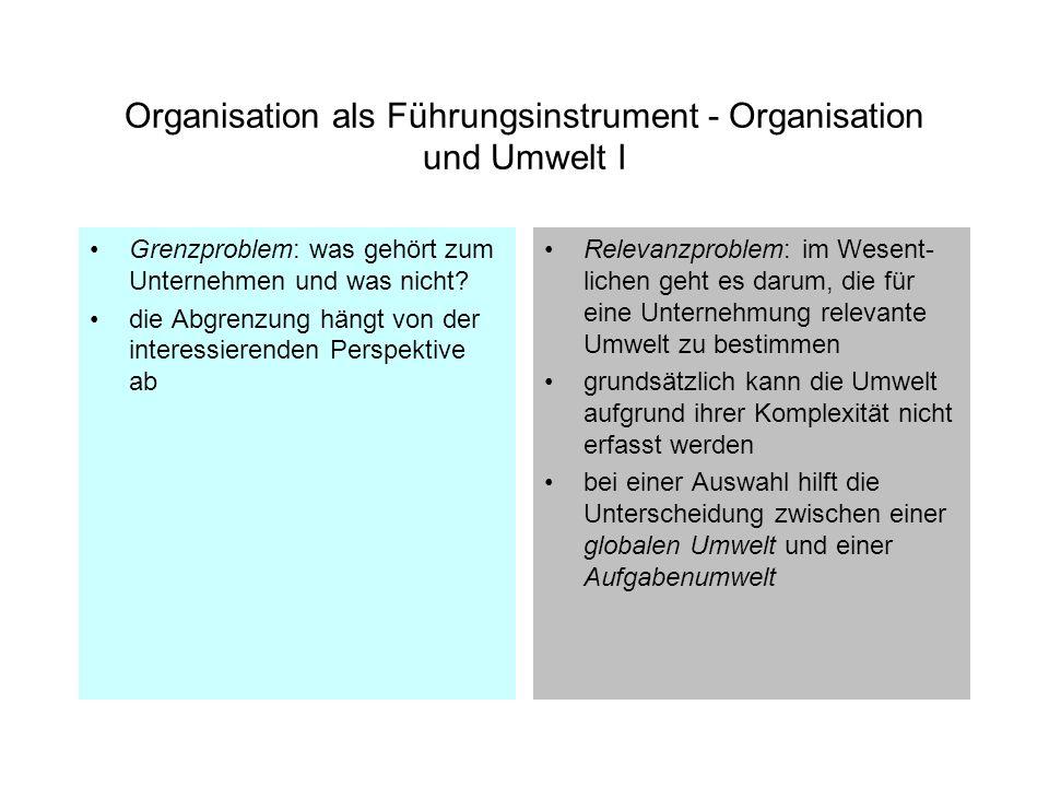 Organisation als Führungsinstrument - Organisation und Umwelt I