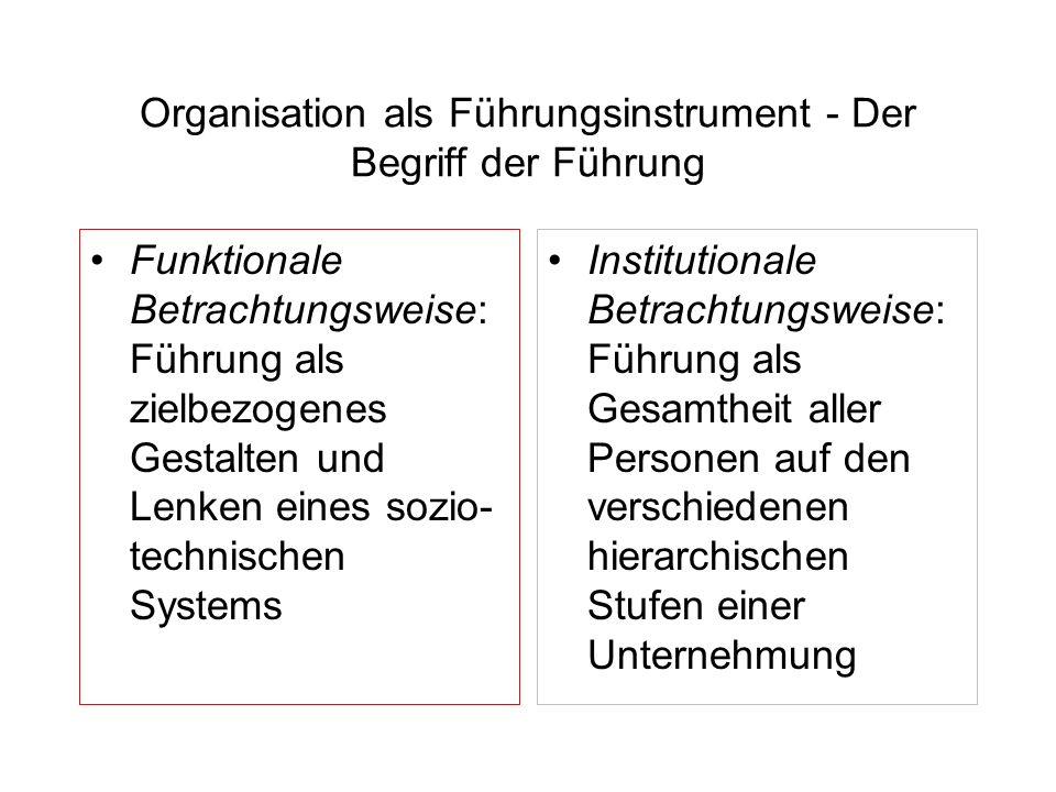 Organisation als Führungsinstrument - Der Begriff der Führung