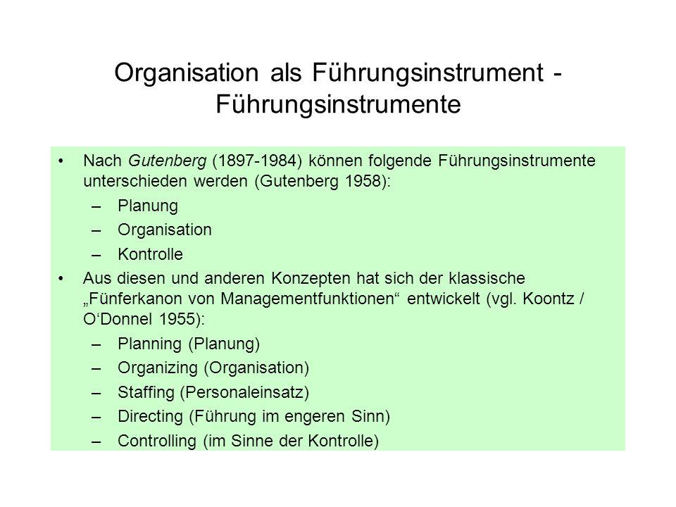 Organisation als Führungsinstrument - Führungsinstrumente