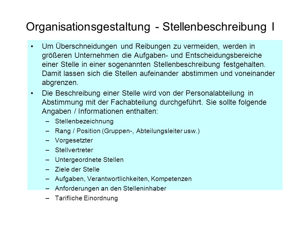 Organisationsgestaltung - Stellenbeschreibung I