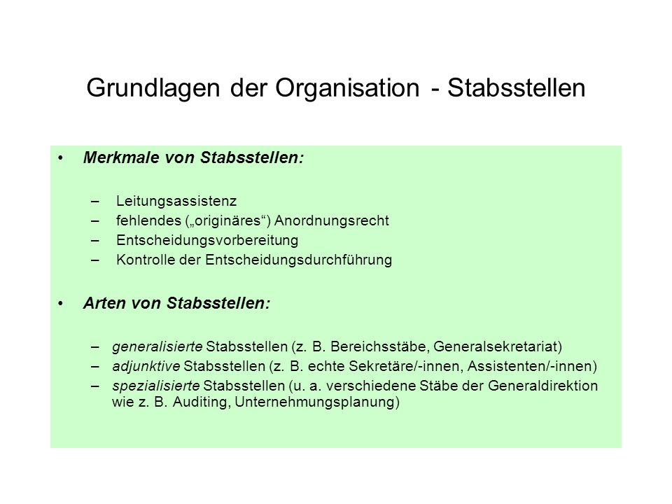 Grundlagen der Organisation - Stabsstellen