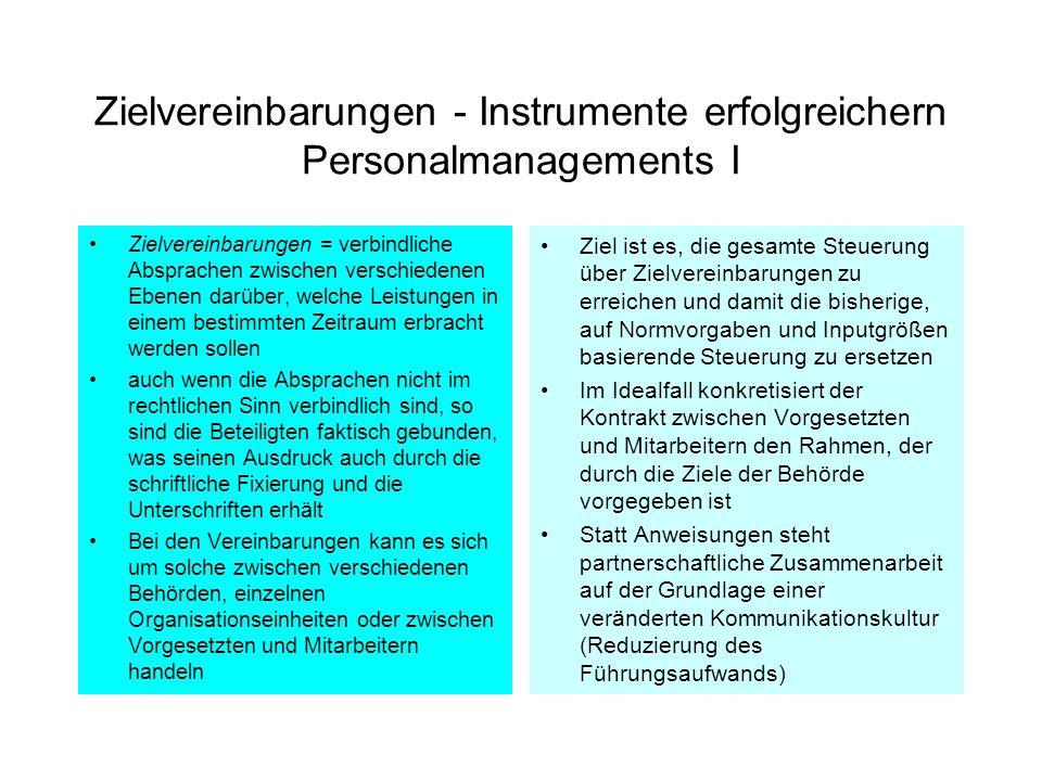 Zielvereinbarungen - Instrumente erfolgreichern Personalmanagements I