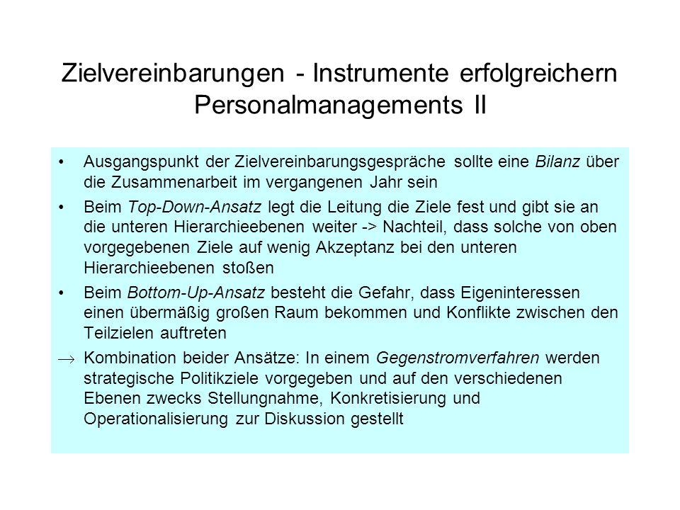 Zielvereinbarungen - Instrumente erfolgreichern Personalmanagements II