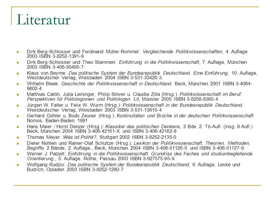 Literatur Dirk Berg-Schlosser und Ferdinand Müller-Rommel: Vergleichende Politikwissenschaften, 4. Auflage 2003 ISBN 3-8252-1391-9.