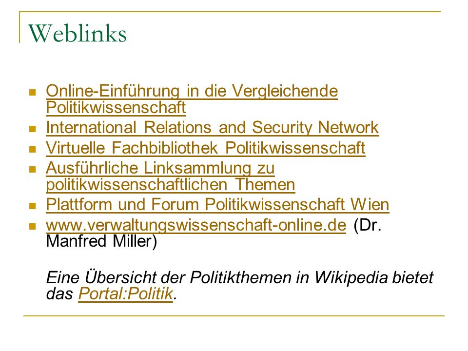 Weblinks Online-Einführung in die Vergleichende Politikwissenschaft