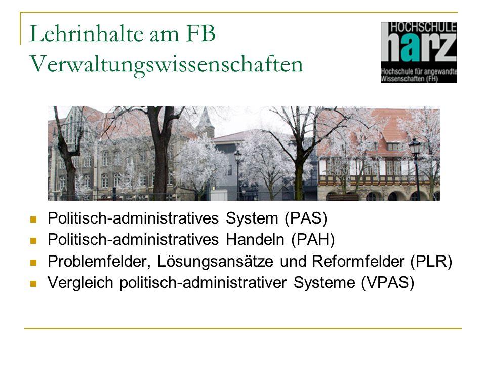 Lehrinhalte am FB Verwaltungswissenschaften