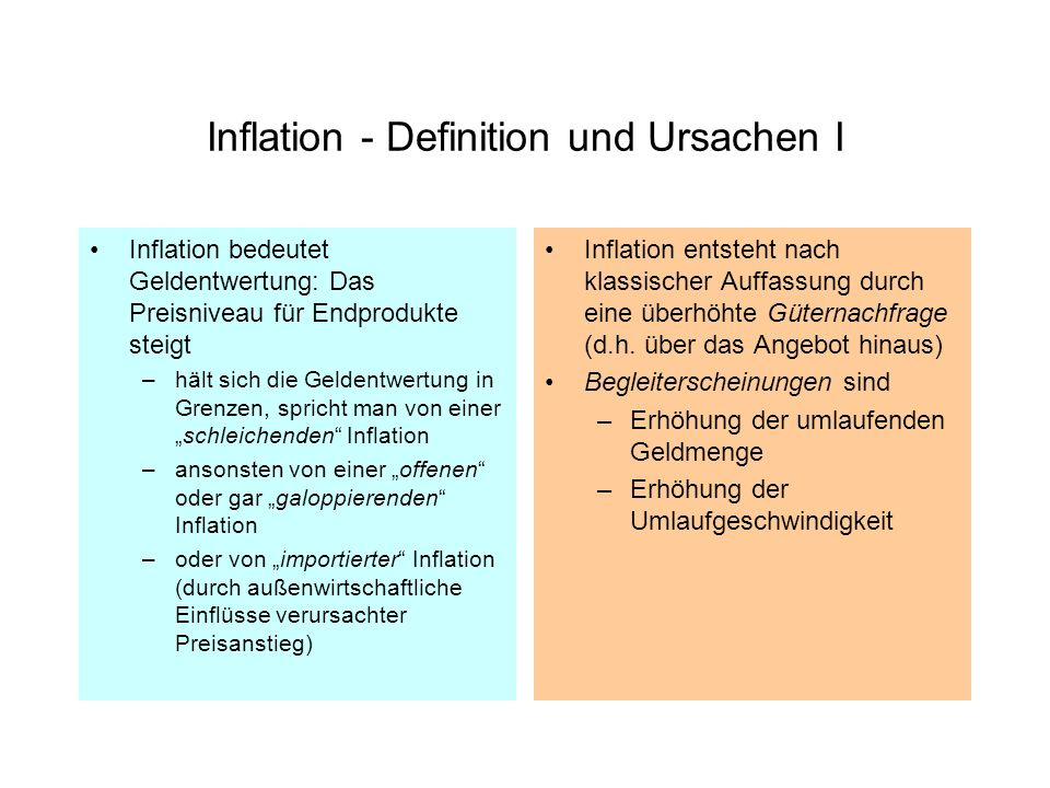 Inflation - Definition und Ursachen I