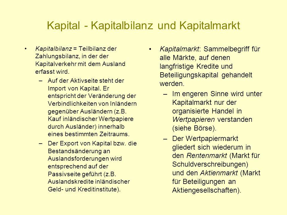 Kapital - Kapitalbilanz und Kapitalmarkt