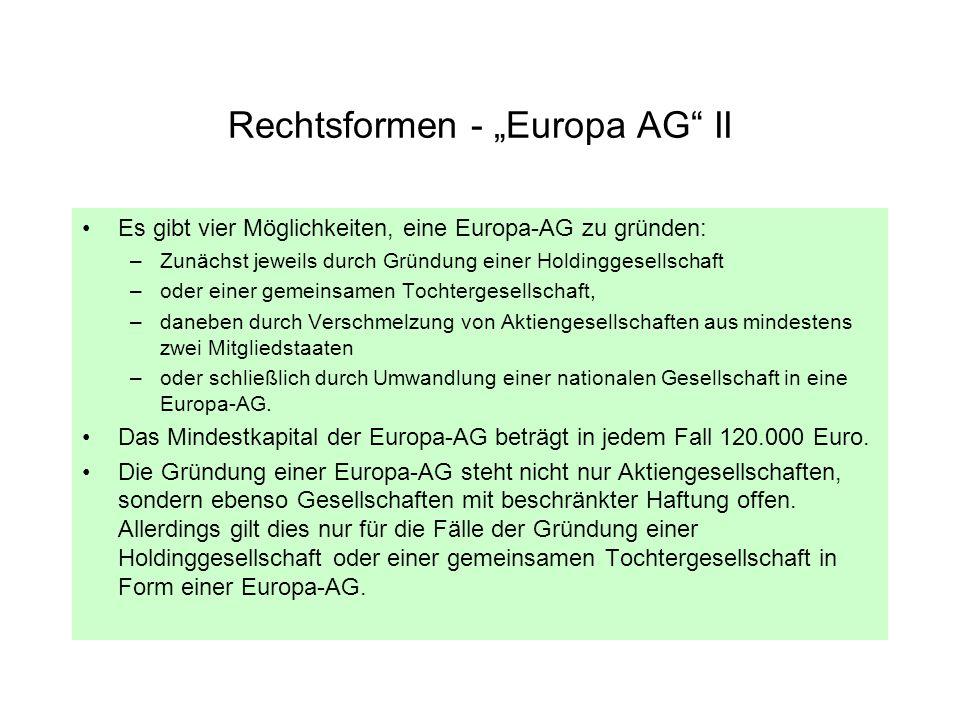 "Rechtsformen - ""Europa AG II"