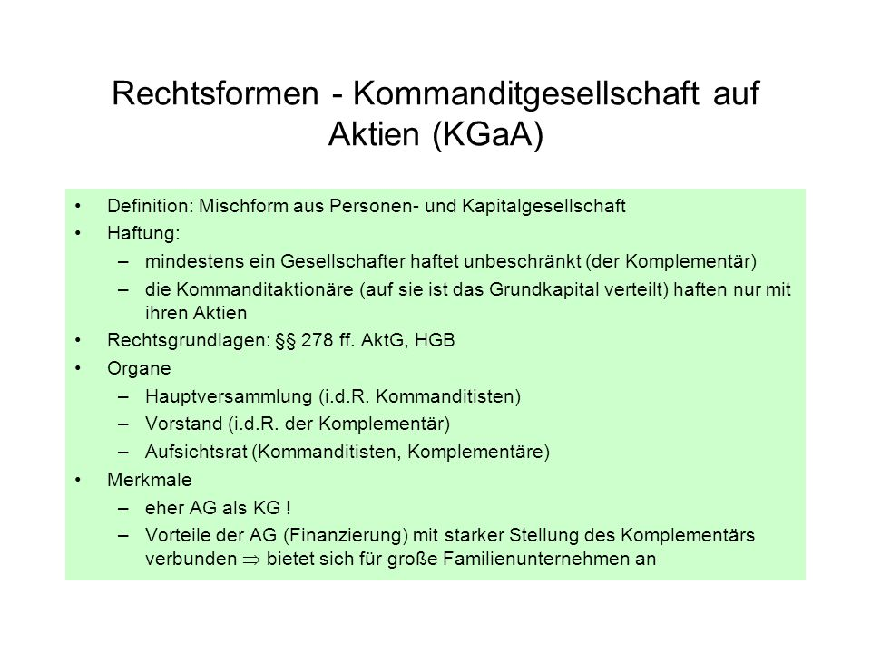 Rechtsformen - Kommanditgesellschaft auf Aktien (KGaA)