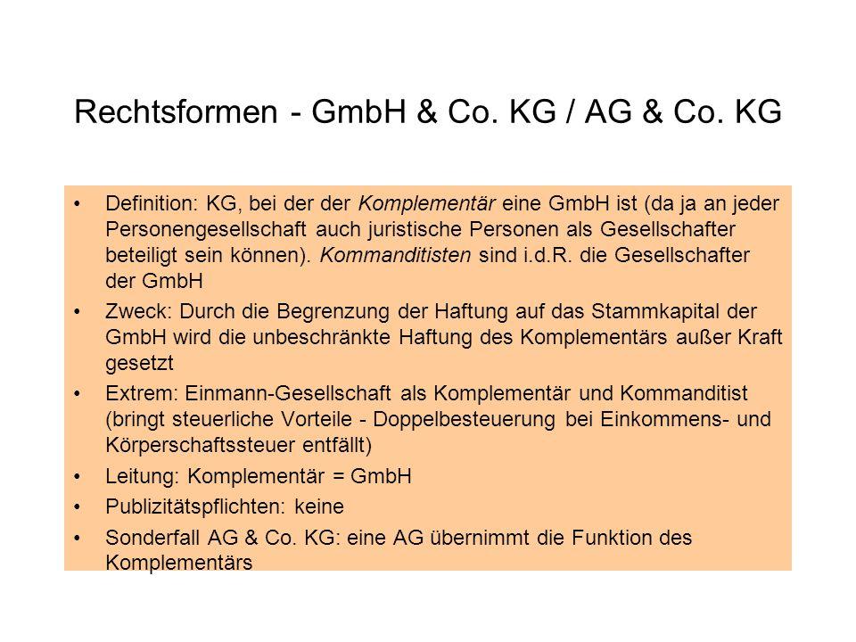 Rechtsformen - GmbH & Co. KG / AG & Co. KG