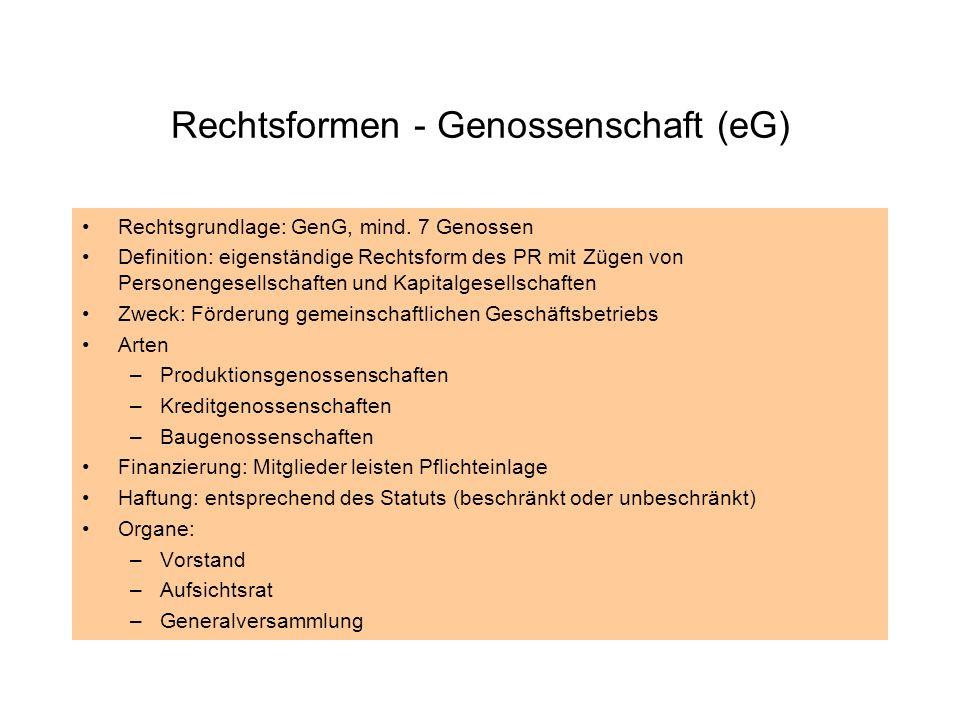 Rechtsformen - Genossenschaft (eG)