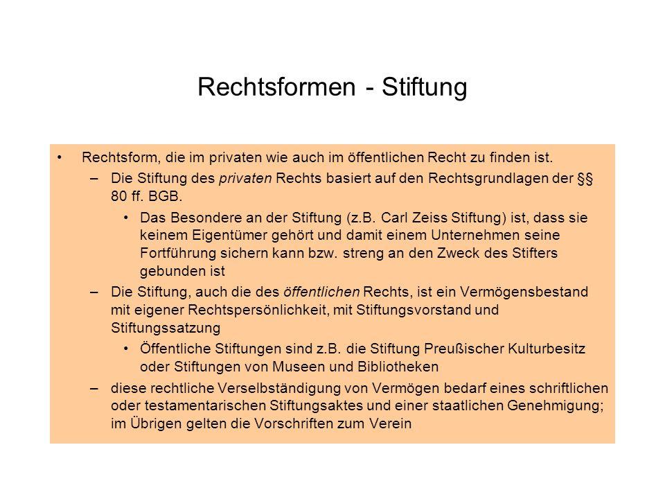 Rechtsformen - Stiftung