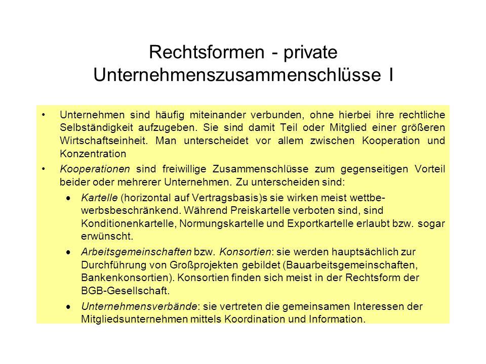 Rechtsformen - private Unternehmenszusammenschlüsse I