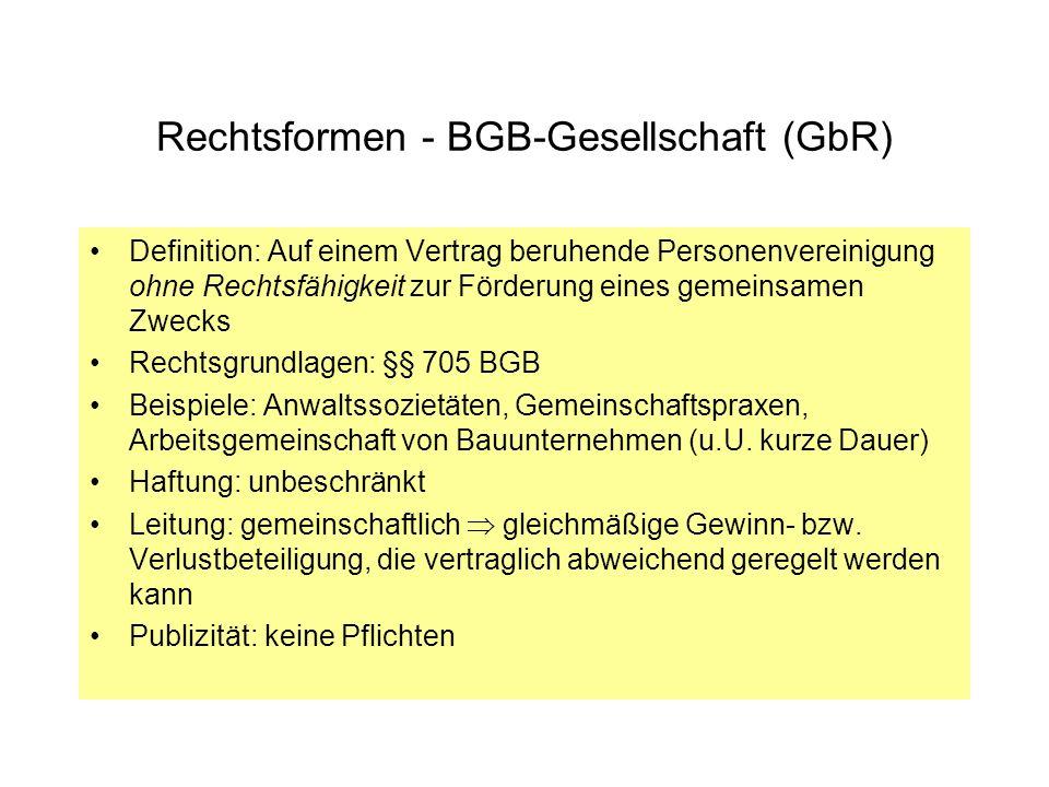 Rechtsformen - BGB-Gesellschaft (GbR)