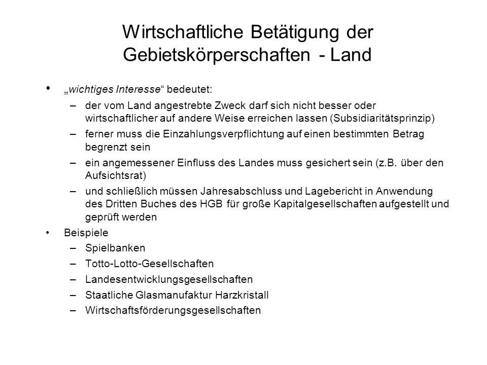 Wirtschaftliche Betätigung der Gebietskörperschaften - Land