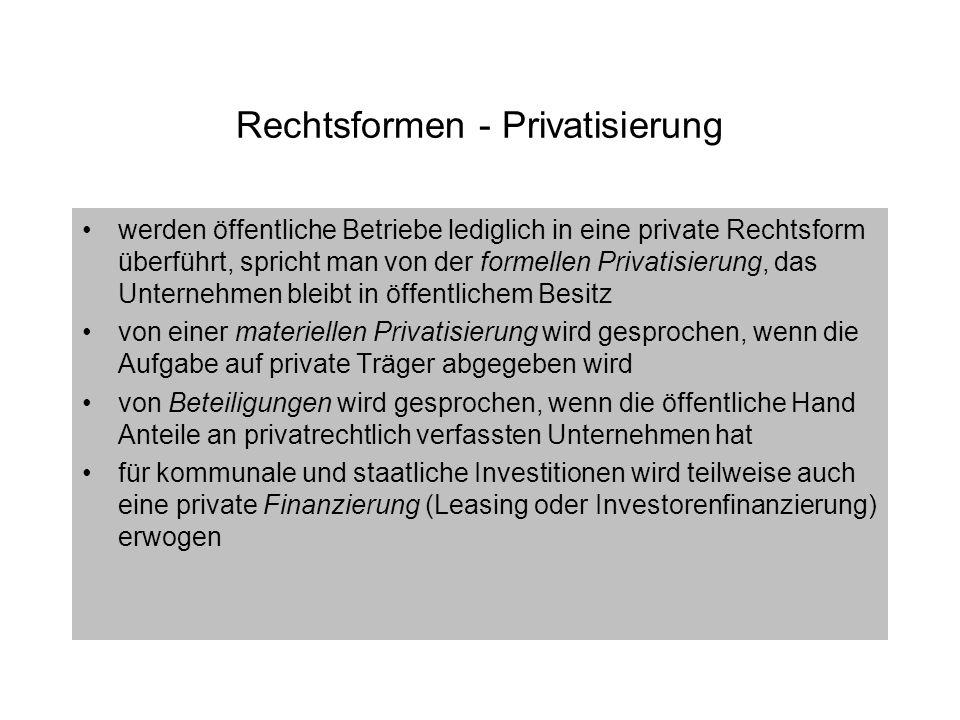 Rechtsformen - Privatisierung
