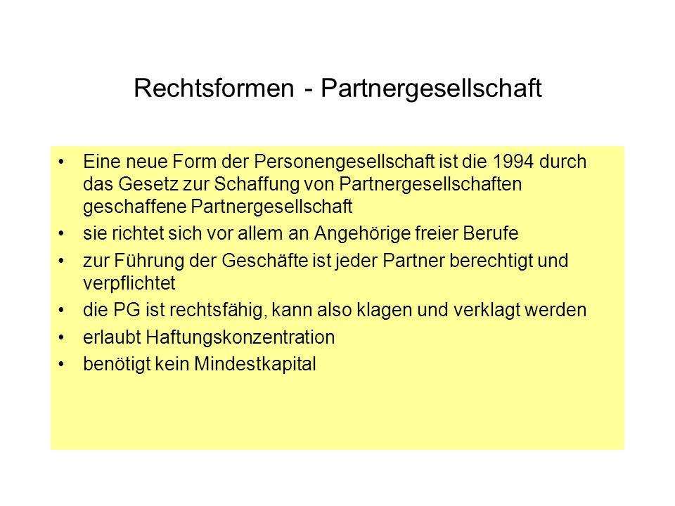 Rechtsformen - Partnergesellschaft