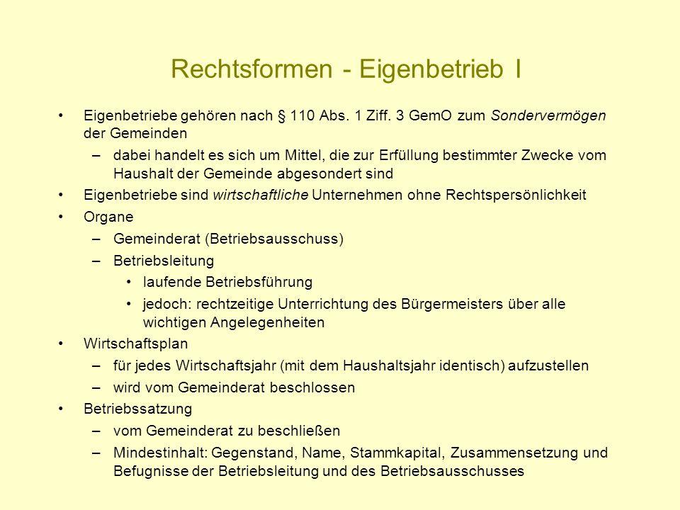 Rechtsformen - Eigenbetrieb I