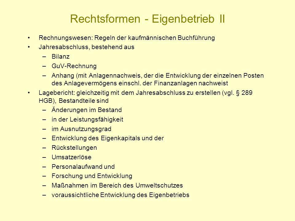 Rechtsformen - Eigenbetrieb II