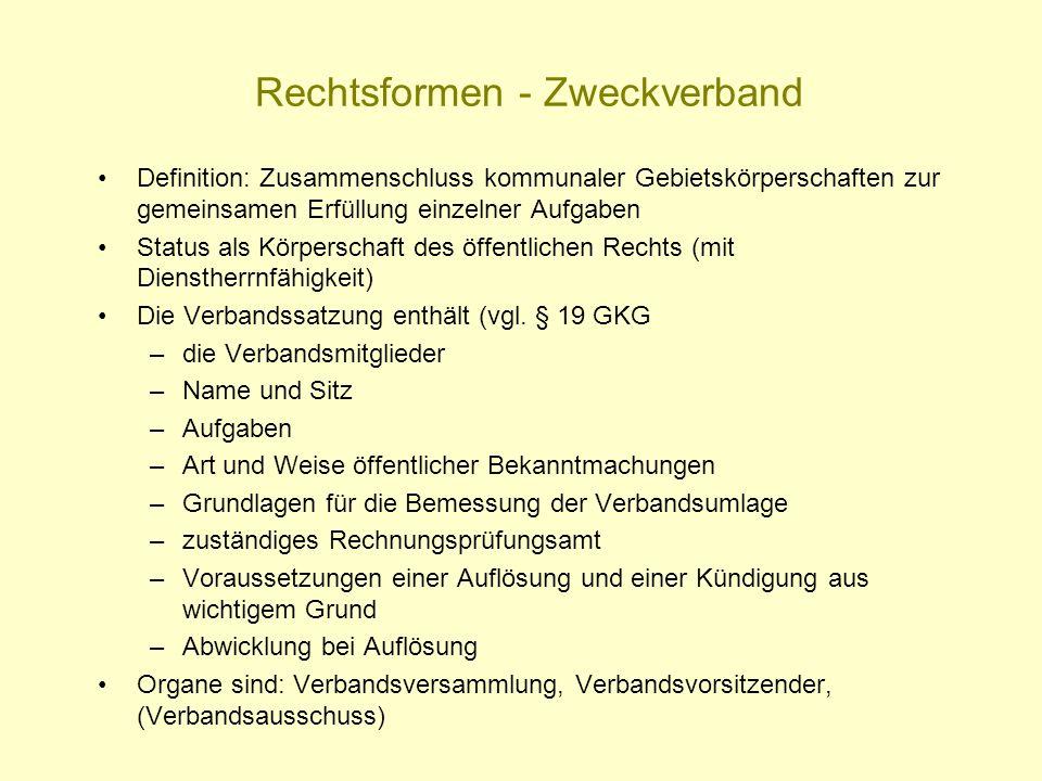 Rechtsformen - Zweckverband