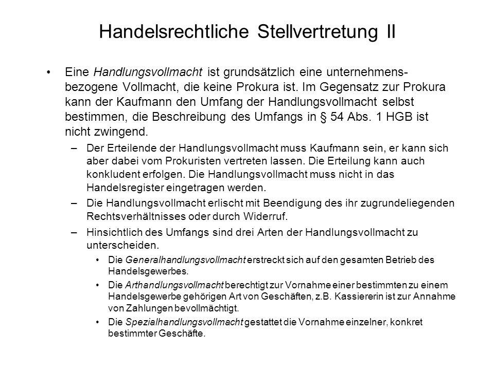 Handelsrechtliche Stellvertretung II