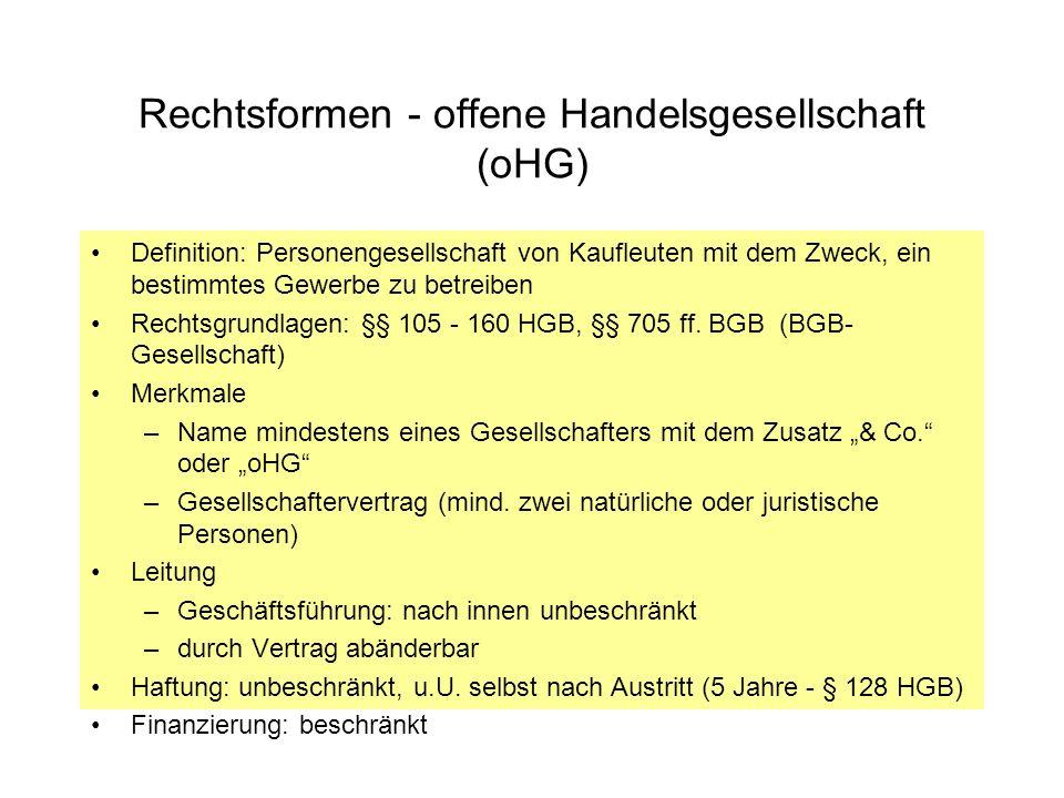 Rechtsformen - offene Handelsgesellschaft (oHG)