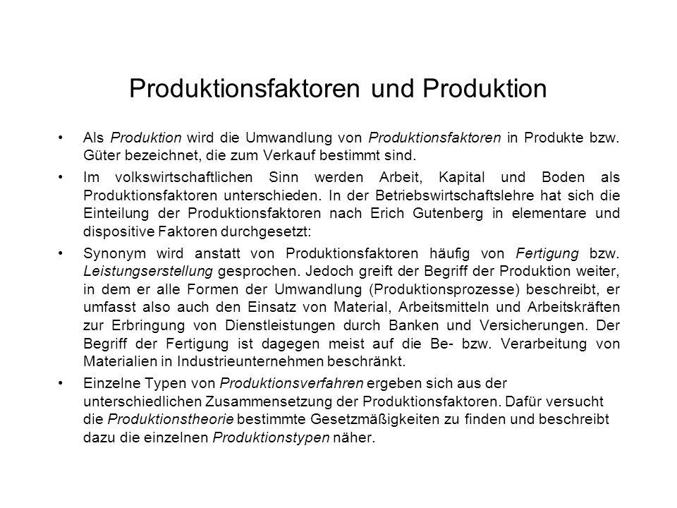 Produktionsfaktoren und Produktion