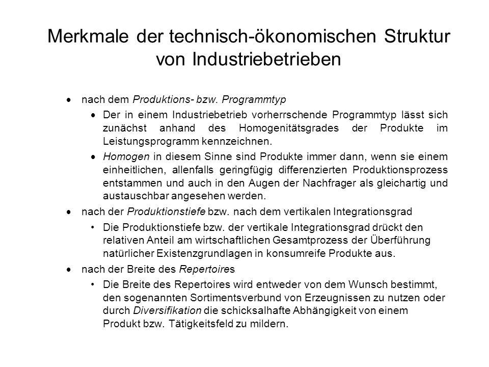Merkmale der technisch-ökonomischen Struktur von Industriebetrieben