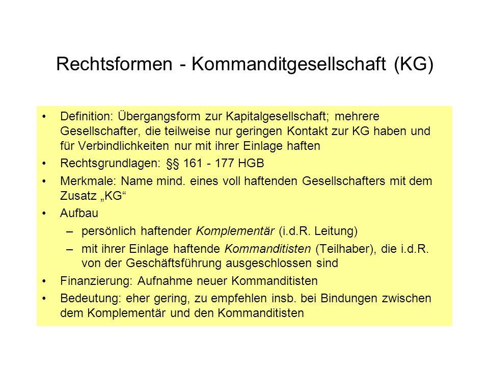 Rechtsformen - Kommanditgesellschaft (KG)