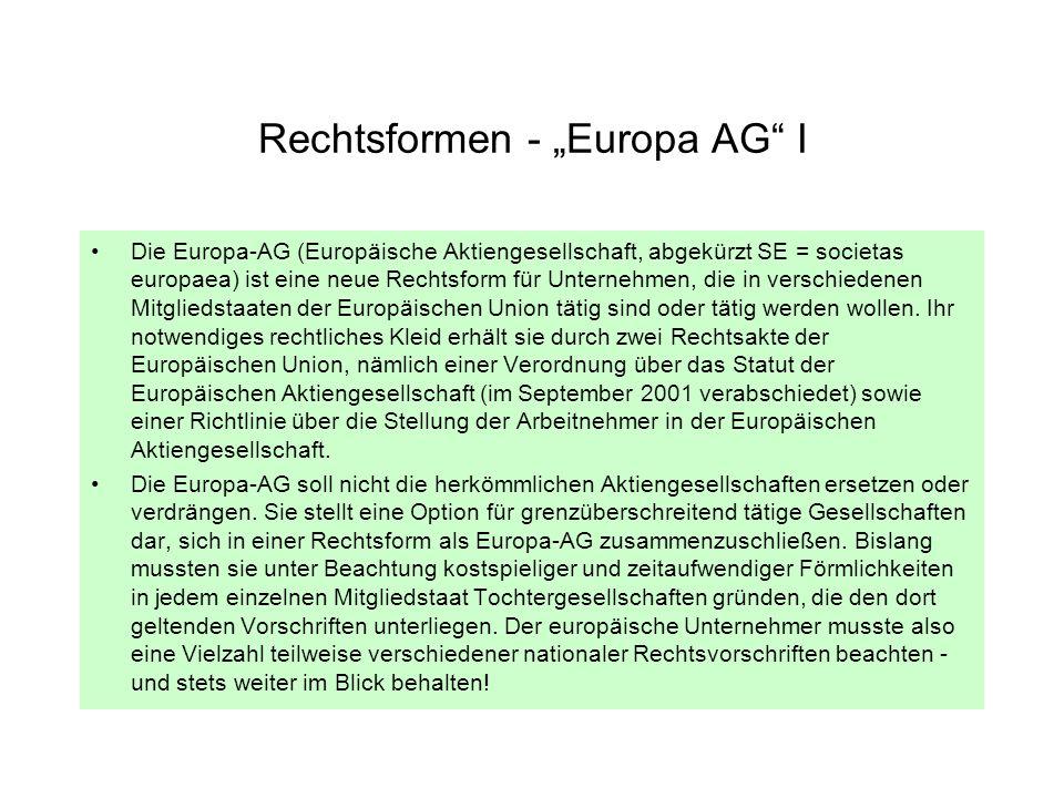 "Rechtsformen - ""Europa AG I"
