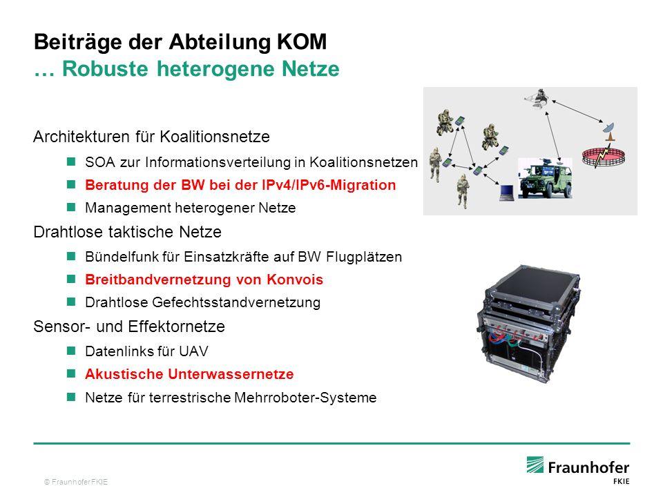 Beiträge der Abteilung KOM … Robuste heterogene Netze